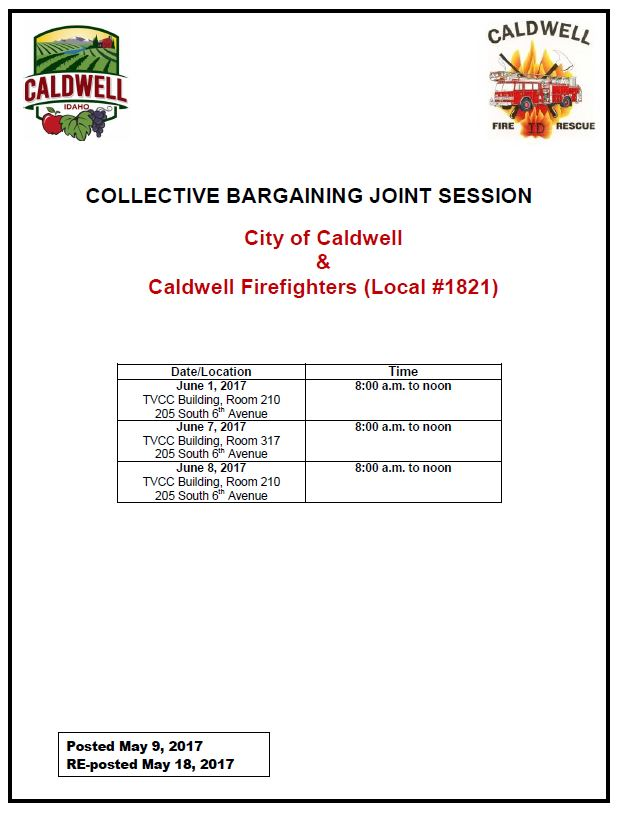 Fire Negotiations meeting schedule