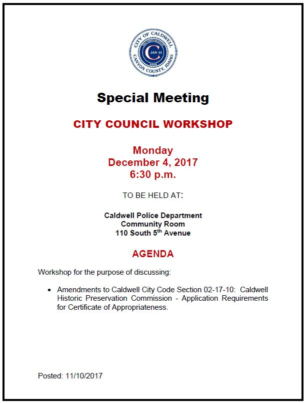 2017 12-04 City Council Workshop Agenda