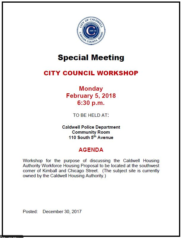 City Council Workshop agenda 2-5-18