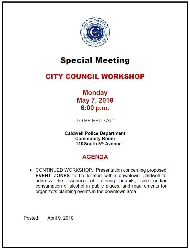 2018-05-07 City Council Workshop Agenda