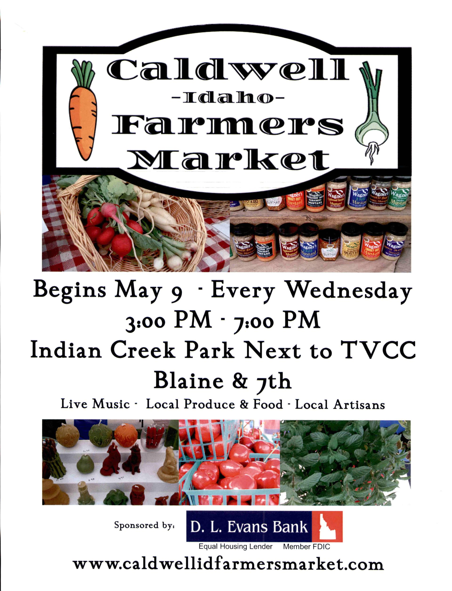 Caldwell Farmers Market flyer - starts May 9