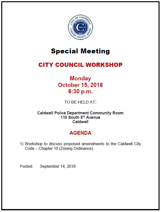 City Council special Meeting flyer 10-15-18