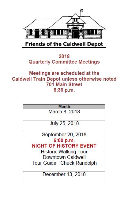 Friends of the Depot Quarterly Meetings 2018