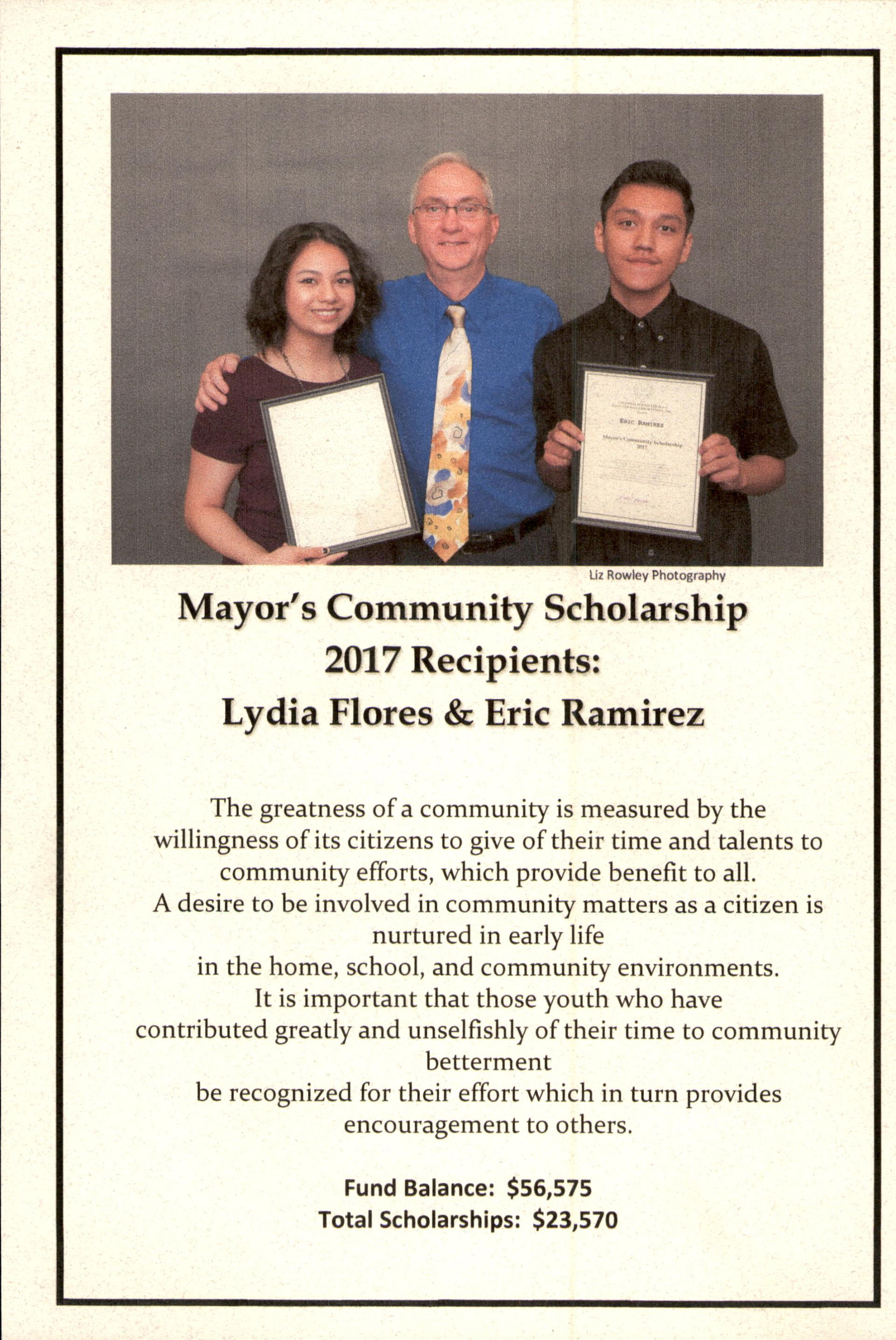 Mayor's Community Schoolarship winners