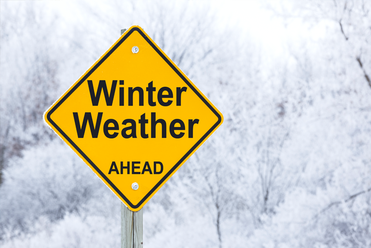 Winter Weather ahead sign