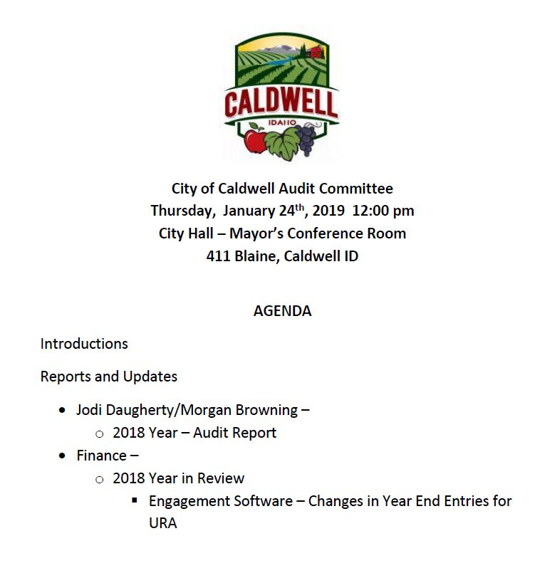 Audit Committee meeting agenda 1-24-19