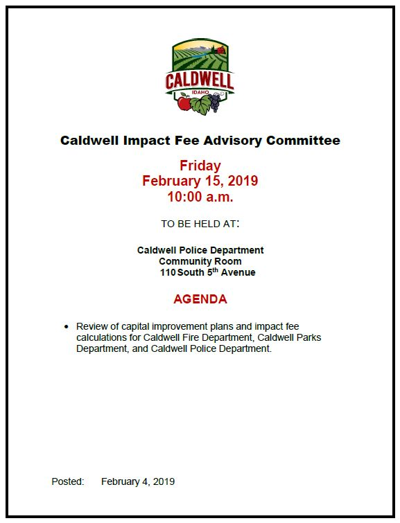 Impact Fee Advisory meeting 2-15-19