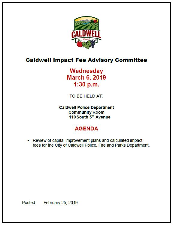 Agenda for 3-6-2019 Impact Fee Committee meeting