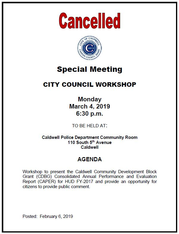 Cancellation notice - City Council Workshop on 3-4-2019
