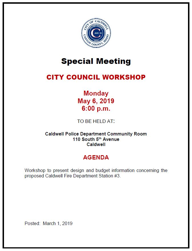City Council Workshop Agenda for 5-6-2019 meeting