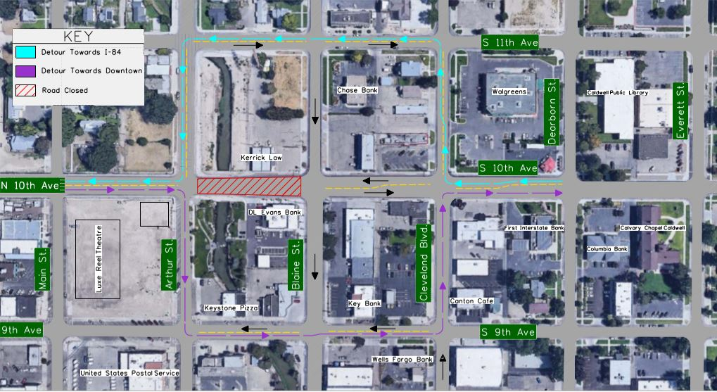 10th Ave Detour map--construction starts 4/15/2019