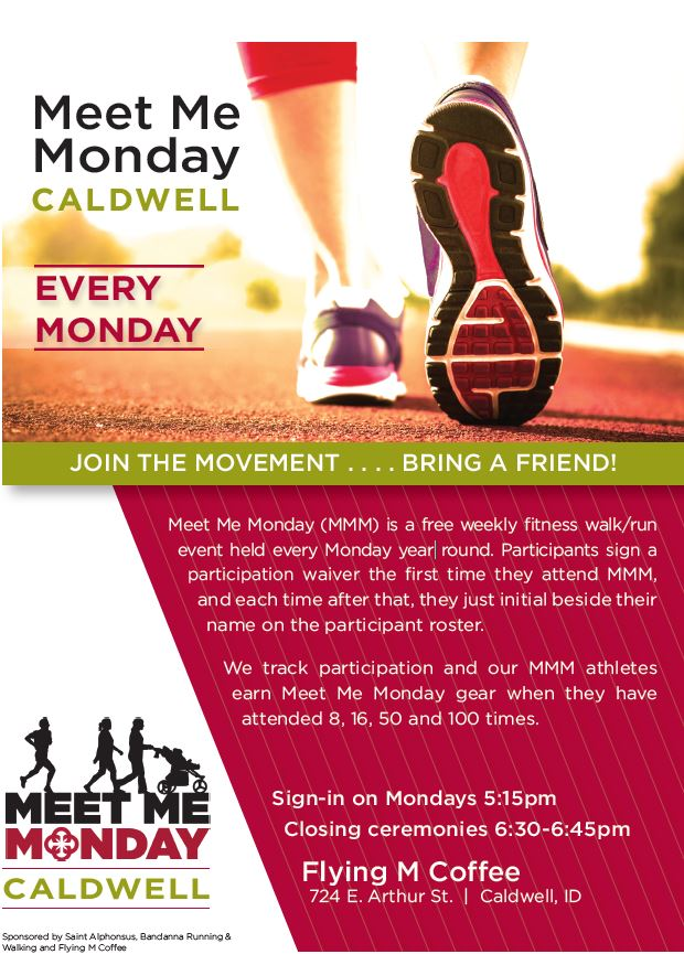 Meet me Monday walking club flyer -- every Monday