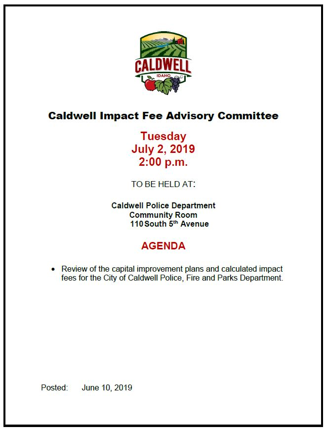 2019-07-02 Impact Fee committee meeting agenda