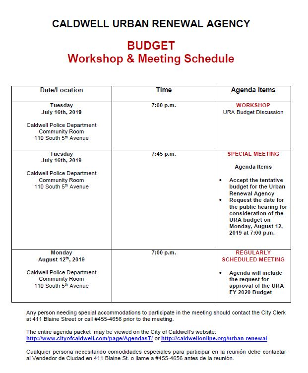 FY 2020 URA Budge workshops and meeting schedule