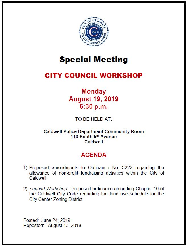 City Council revised workshop notice for 8-19-2019