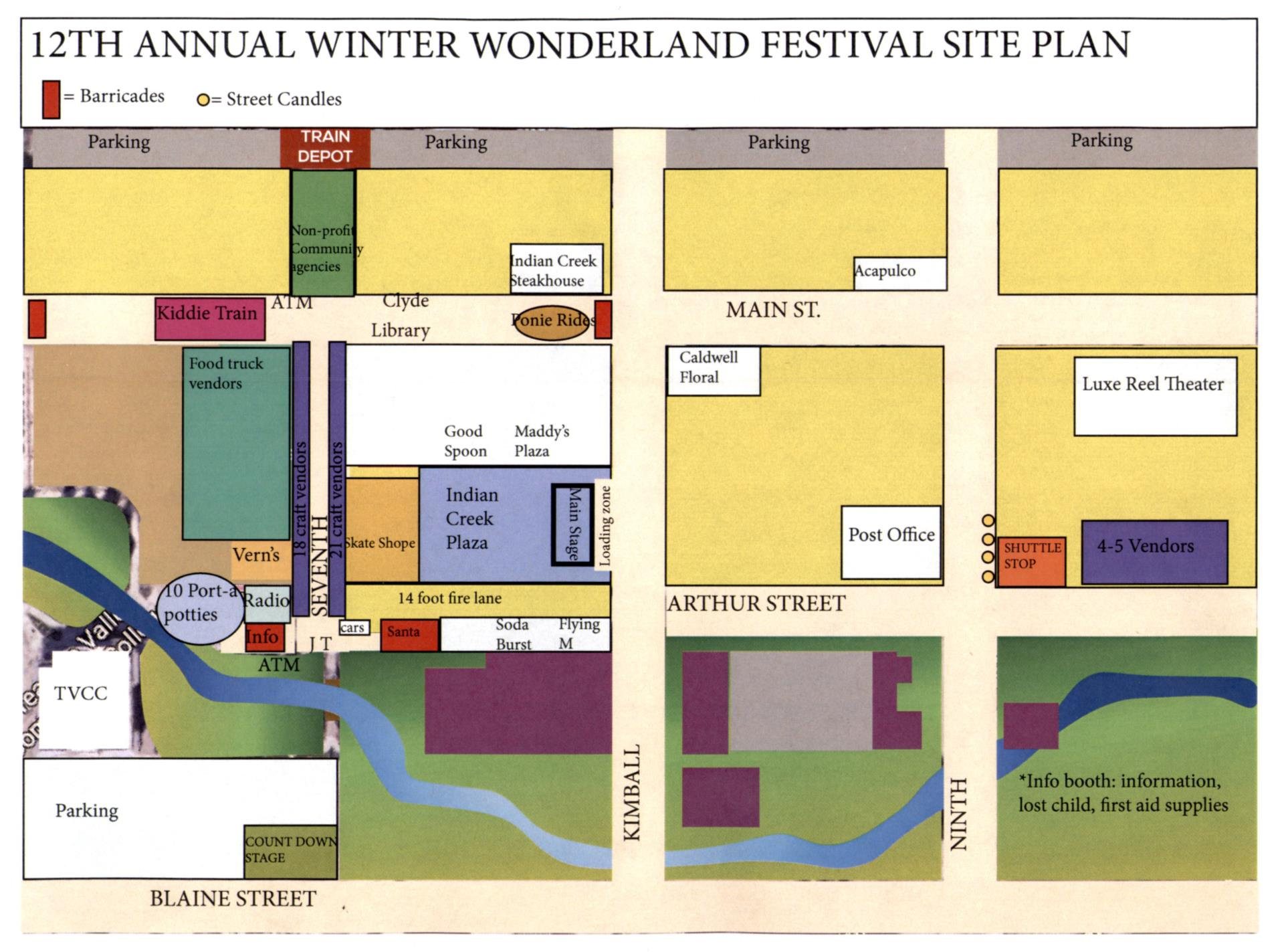 Map for Festival on 11-22-2019 in downtown Caldwell