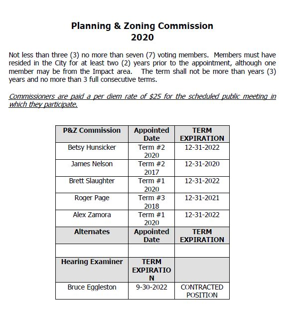 2020 Planning and Zoning Commission Roster (image)