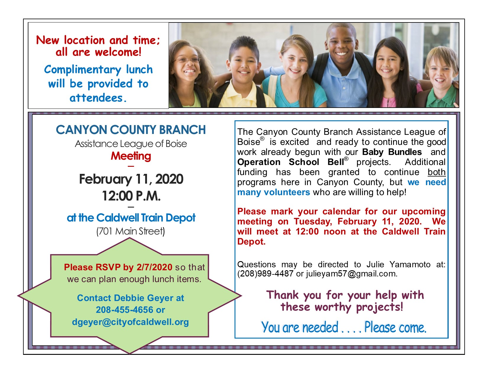 Assistance League meeting, Canyon County branch, 2/11/2020 from 12:00 noon - 2:00 pm