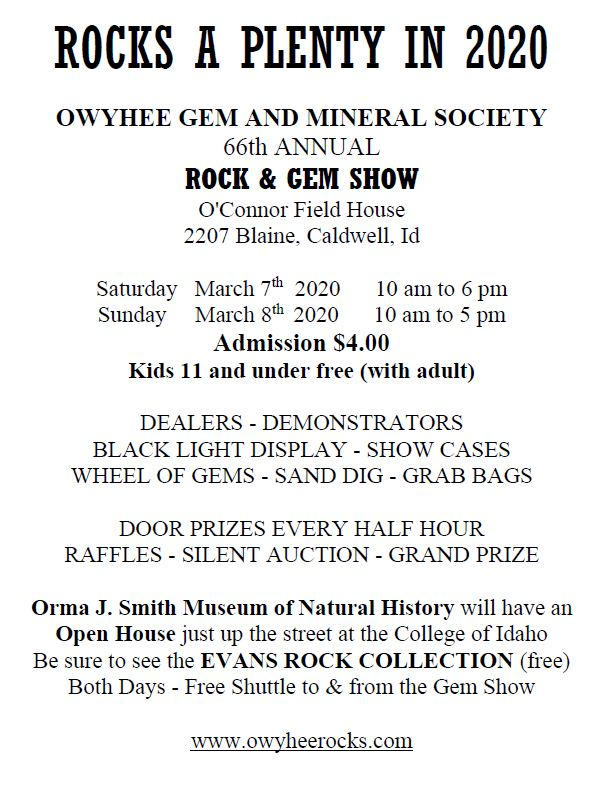 Gem and Mineral show 3/7/2020 at O'Connor Field House