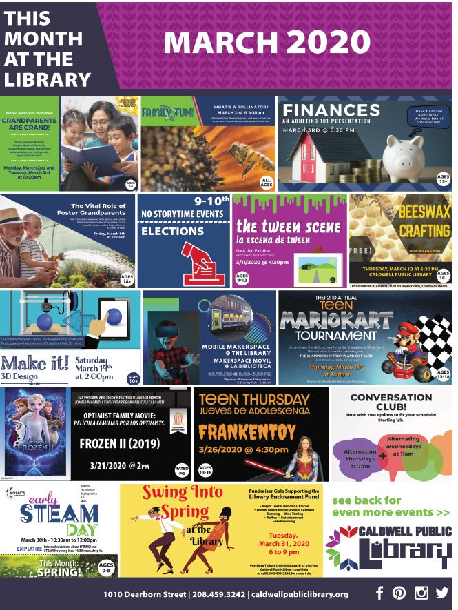 March 2020 Caldwell Library graphic event calendar